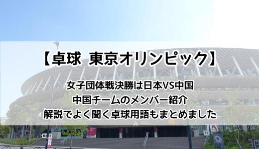【卓球 東京オリンピック:女子団体戦 決勝】8/5(木)の夜はついに日本VS中国戦。ツッツキ・チキータなど卓球用語もまとめました。